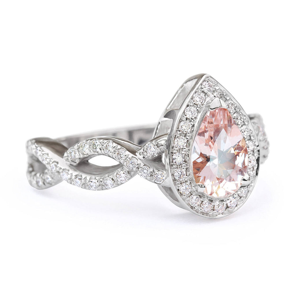 Pear Morganite & Diamond Halo, Infinty Shank Unique Engagement Ring - sillyshinydiamonds