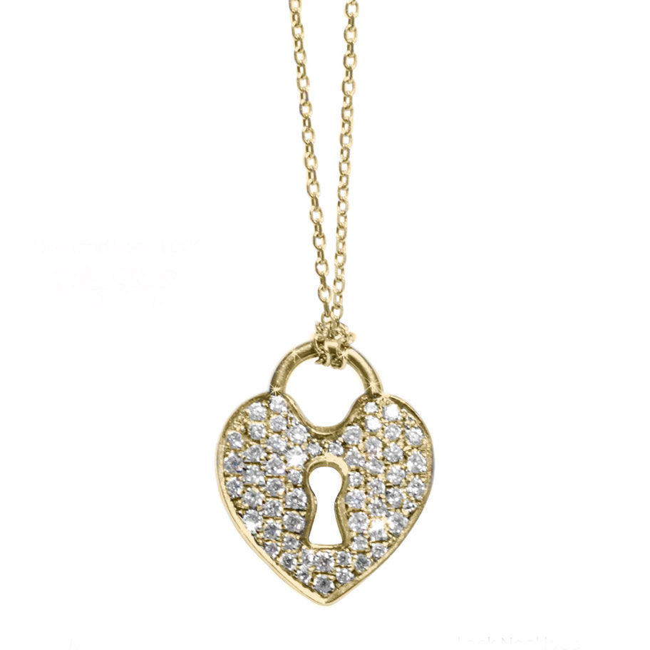 Heart Lock Diamond Pendant Necklace - sillyshinydiamonds