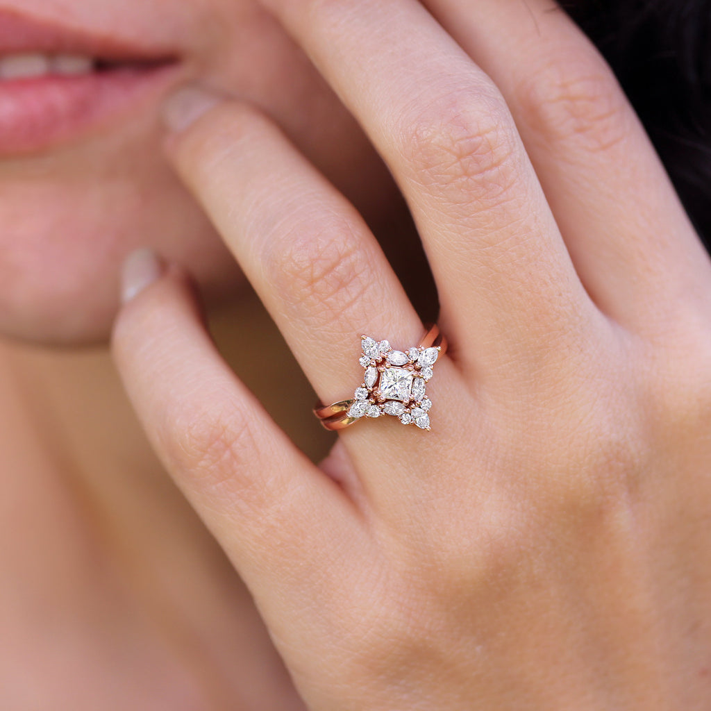 Square Moissanite & Diamond Unique Engagement Ring Altair - sillyshinydiamonds