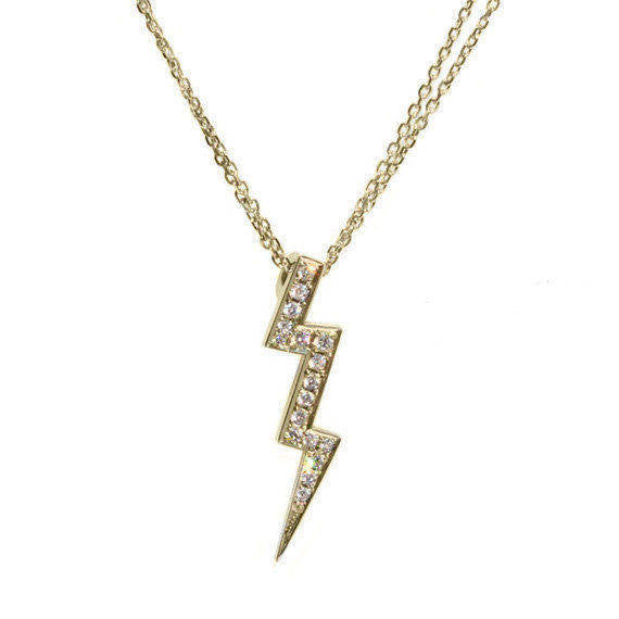 Thunder Lightning Diamond Pendant Necklace - sillyshinydiamonds