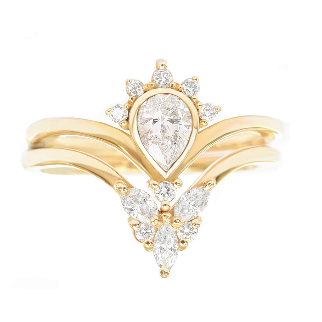Pear Diamond Engagement Rings set, Valetia + Cupid