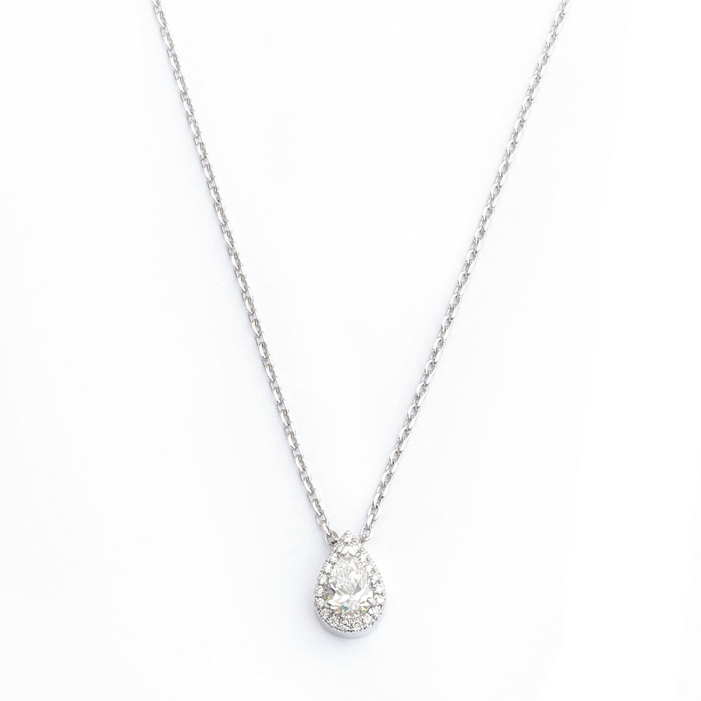 Pear Diamond Halo Pendant Necklace