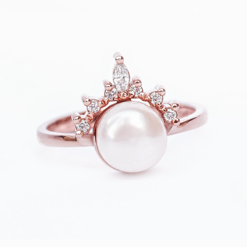 Romi Pearl & Diamonds Ring - sillyshinydiamonds