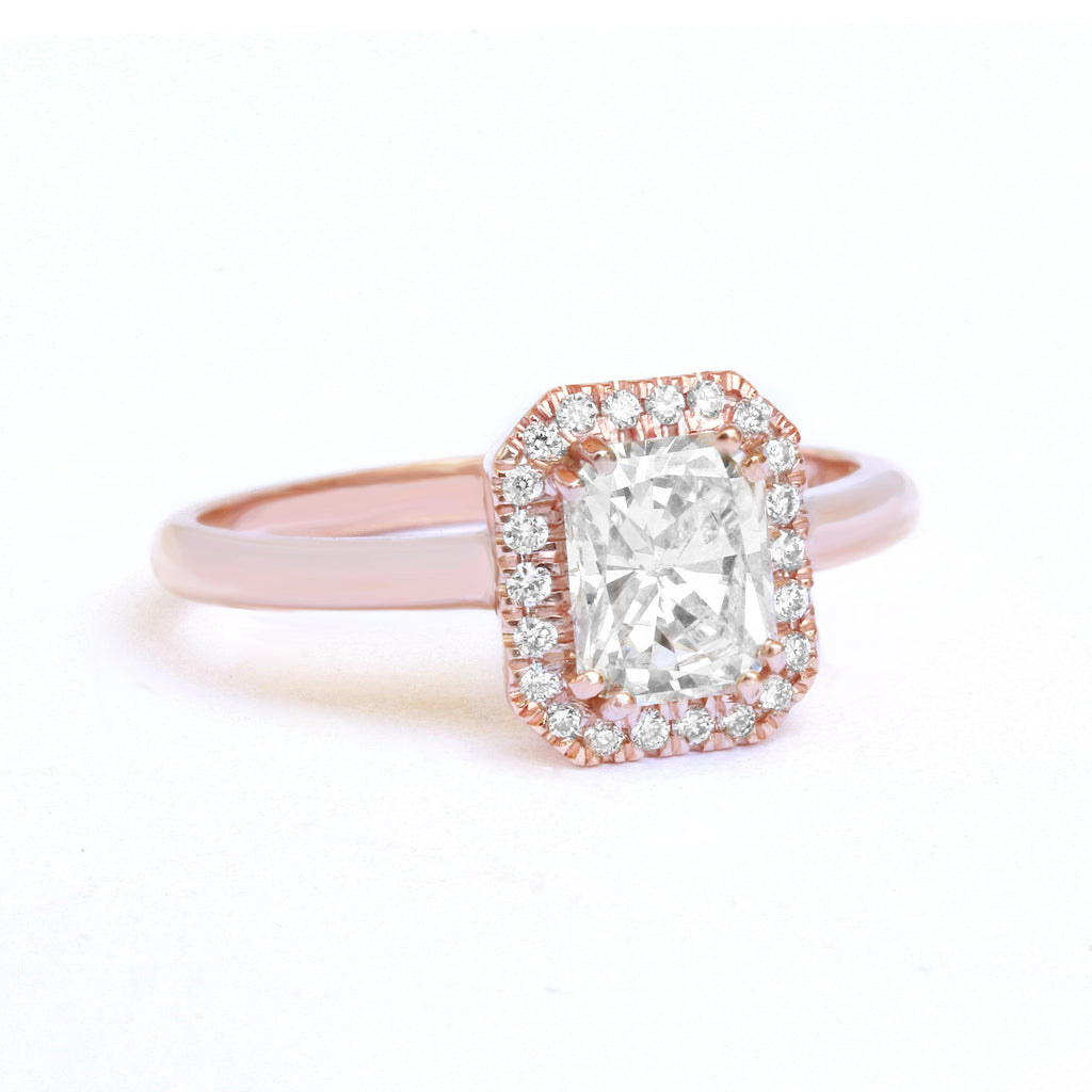 Radiant Rectangle Moissanite Halo Unique Engagement Ring,Square Moissanite Halo Ring,Radiant Moissanite Wedding Band,Cluster Moissanite Ring - sillyshinydiamonds