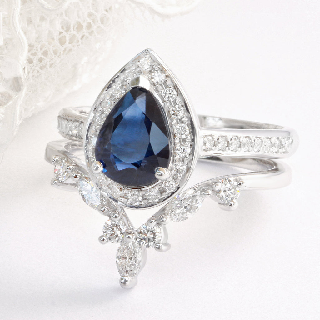 Nia - Pear Sapphire & Diamond Halo Unique Engagement Set - sillyshinydiamonds