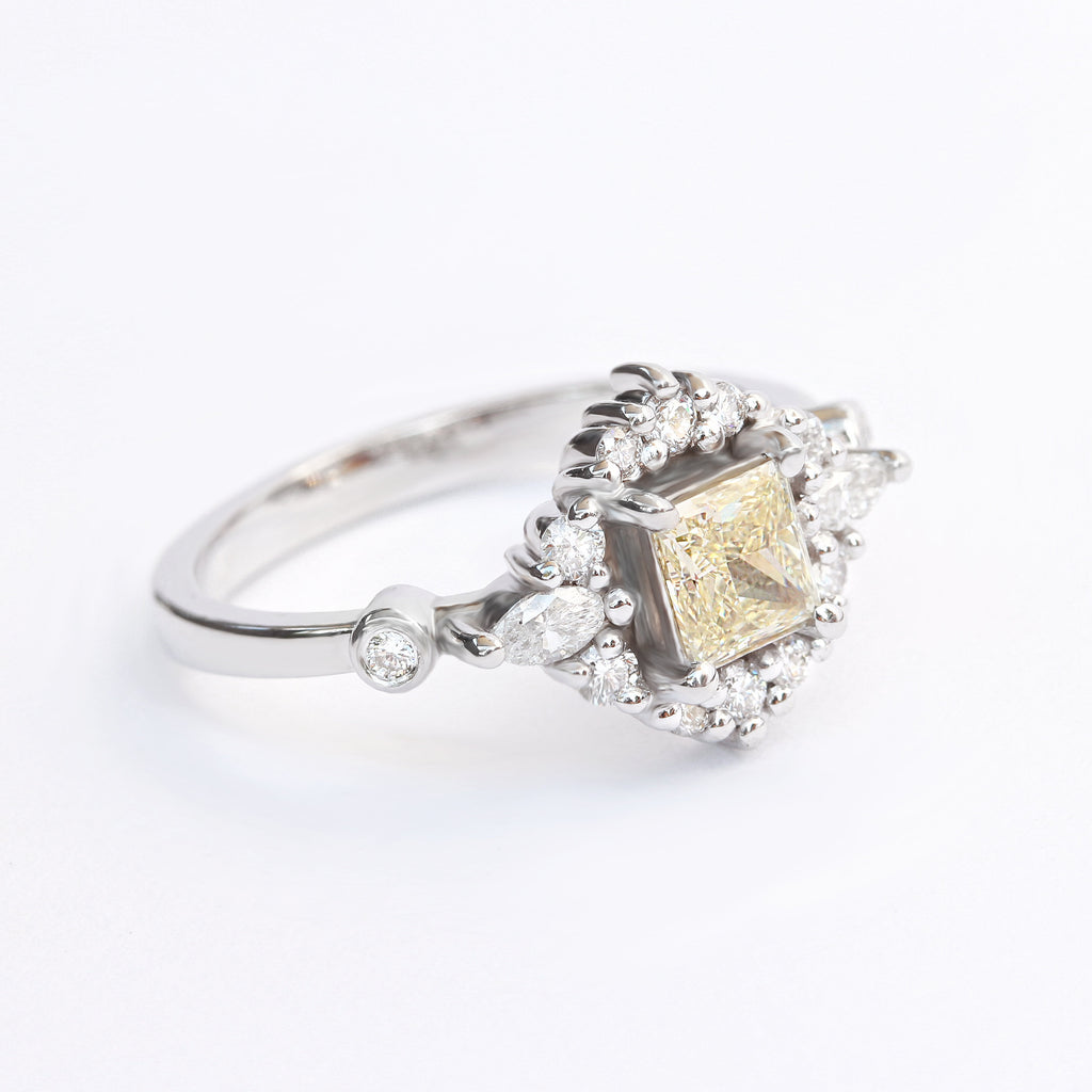 Princess Cut Diamond Engagement Ring, 0.8 carat, 14K White Gold, Ring Size 6.5 - Ready To Ship 'Ecliptic'