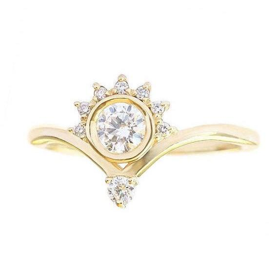 Unique Crown Diamond Engagement Ring, 0.4 CT Diamond Ring, Crown Engagement Ring, 7.0 Size, 14K Yellow Gold Ring Jewelry