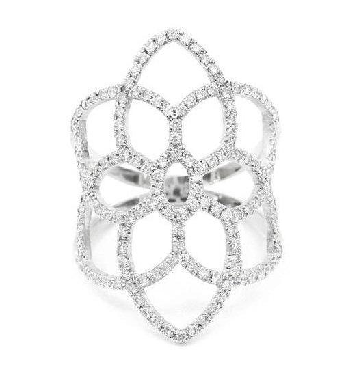 Dream Catcher Lace Diamond Ring, 14K White Gold, Size 7