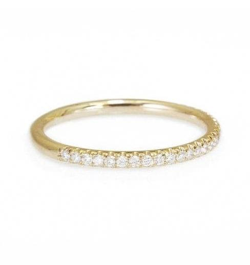 Half Eternity Diamond Wedding Ring, Stacking diamond rings, 14K Yellow Gold, 6.75 size - sillyshinydiamonds