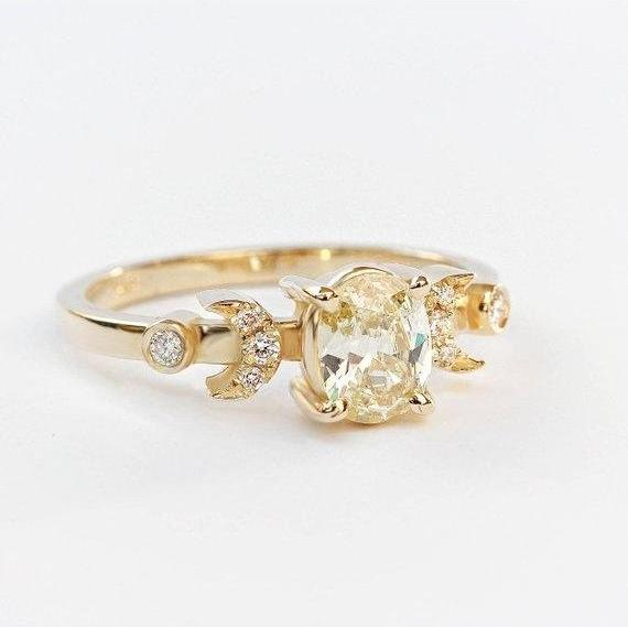 Yellow Oval Diamond Unique, Indie Bride - Unique Engagement Hindi Moon Ring , 14K Yellow Gold, Size 6.5- Ready to ship