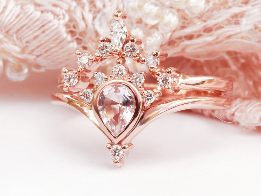 Pear Morganite Valentia with Romi Nesting Diamond Wedding Ring Set