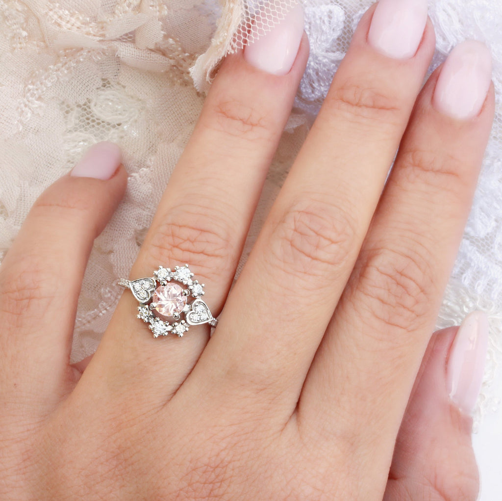 Morganite & Diamond Halo Unique Engagement Ring, Destiny One, 14K White Gold Size 6. - sillyshinydiamonds