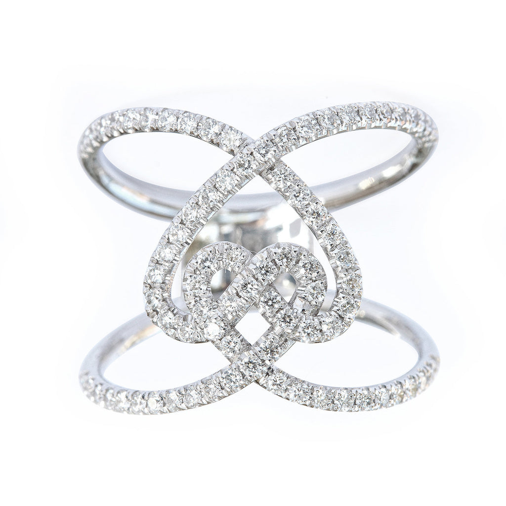 Hearts Lock Unique Statement, Wide Lace Diamond Ring