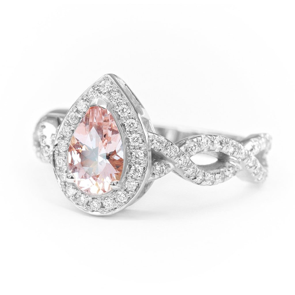 Pear Morganite & Diamond Halo, Infinty Shank Unique Engagement Ring