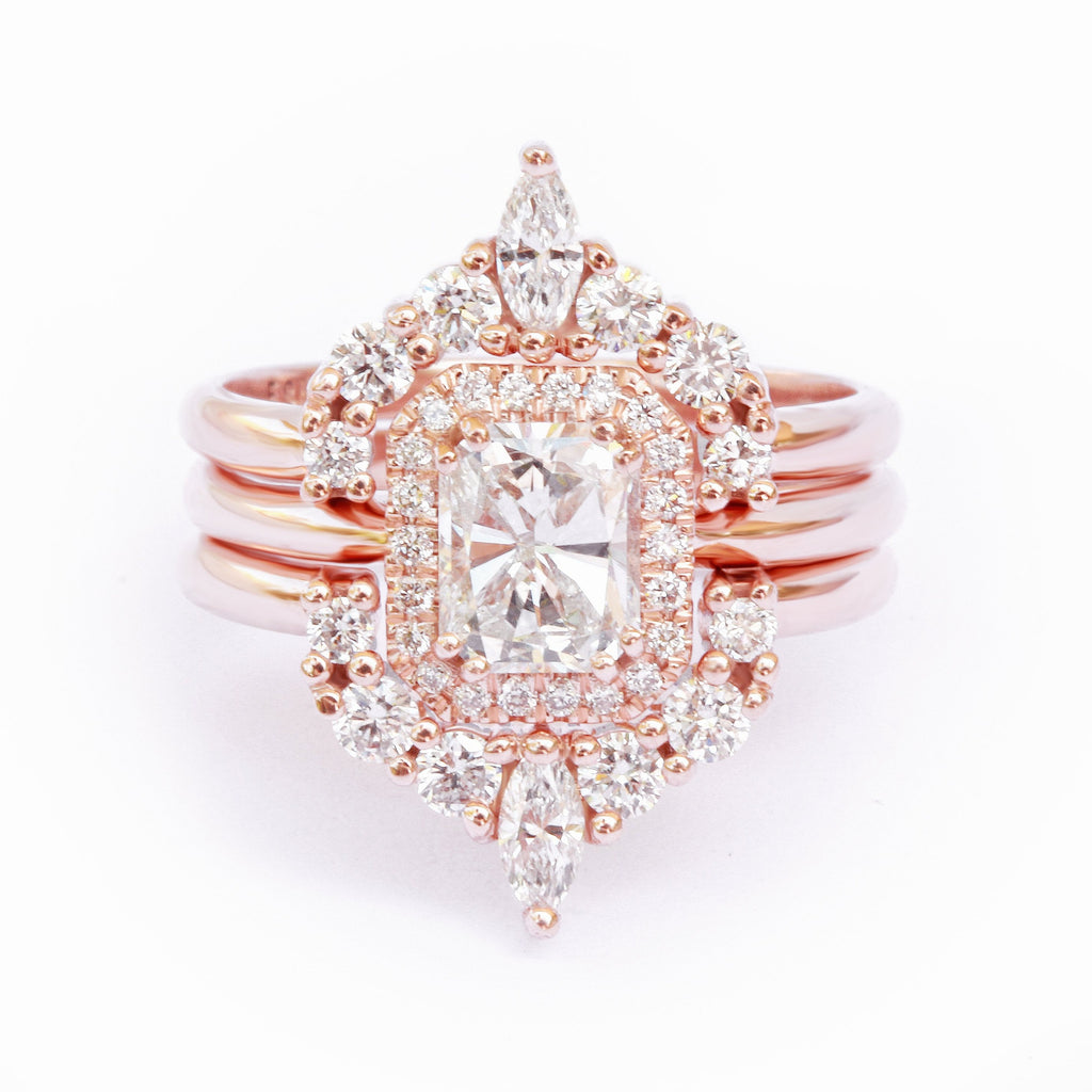 rose gold radiant diamond wedding ring set