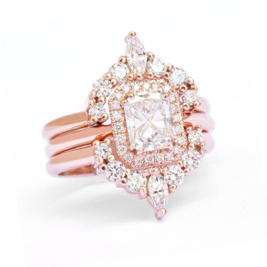 radiant diamond bridal three ring set rose gold