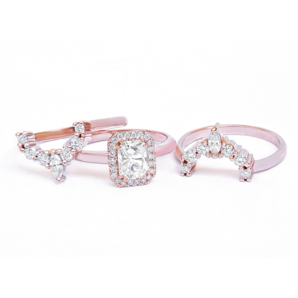 Karma Radiant Diamond Halo, Three Bridal Rings Set.