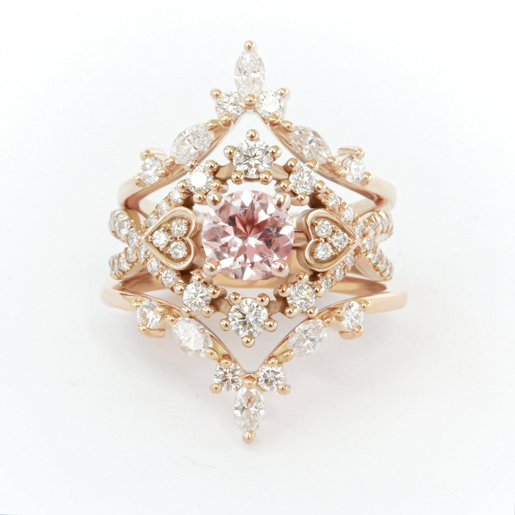 Destiny & Hermes - Morganite & Diamond Halo Unique Engagement & Wedding, Bridal Rings Set - sillyshinydiamonds