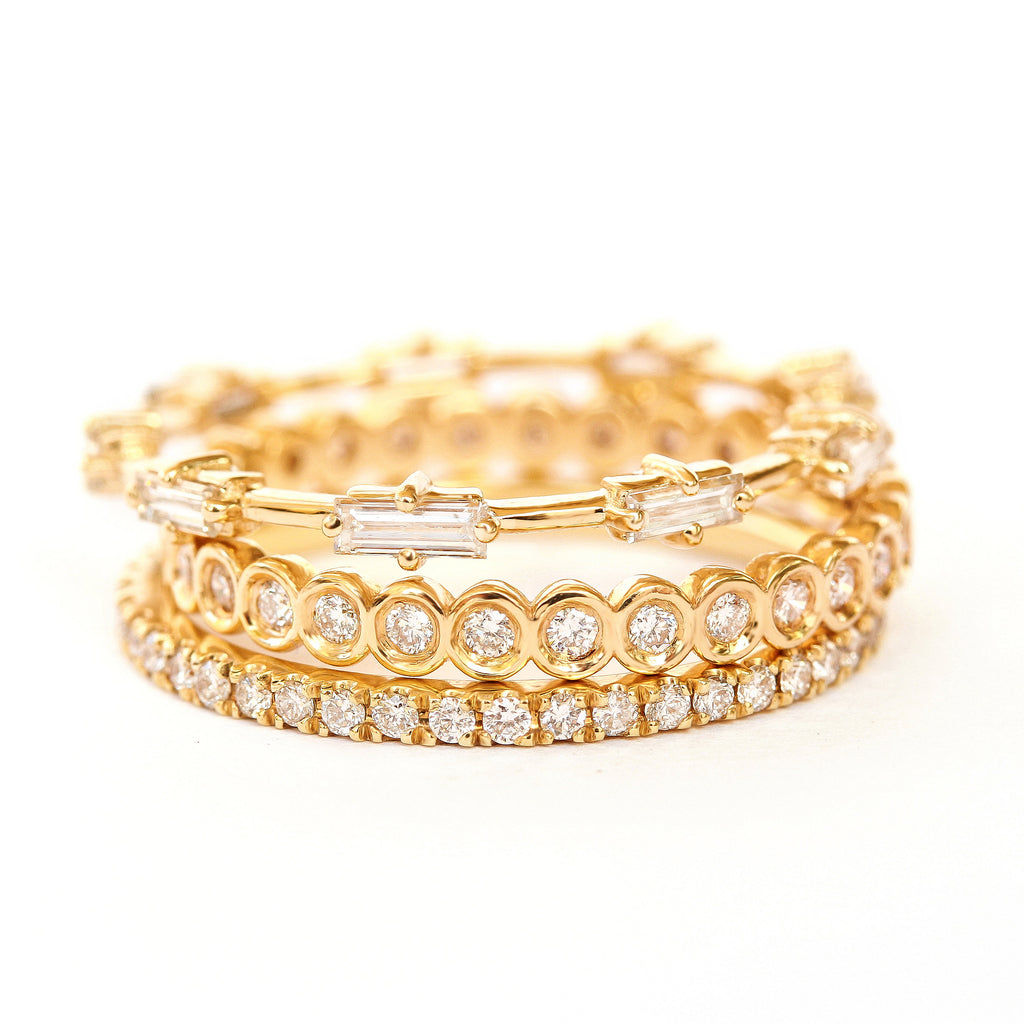 Baguette Diamonds Eternity Unique Wedding Ring / Stacking Rings - sillyshinydiamonds