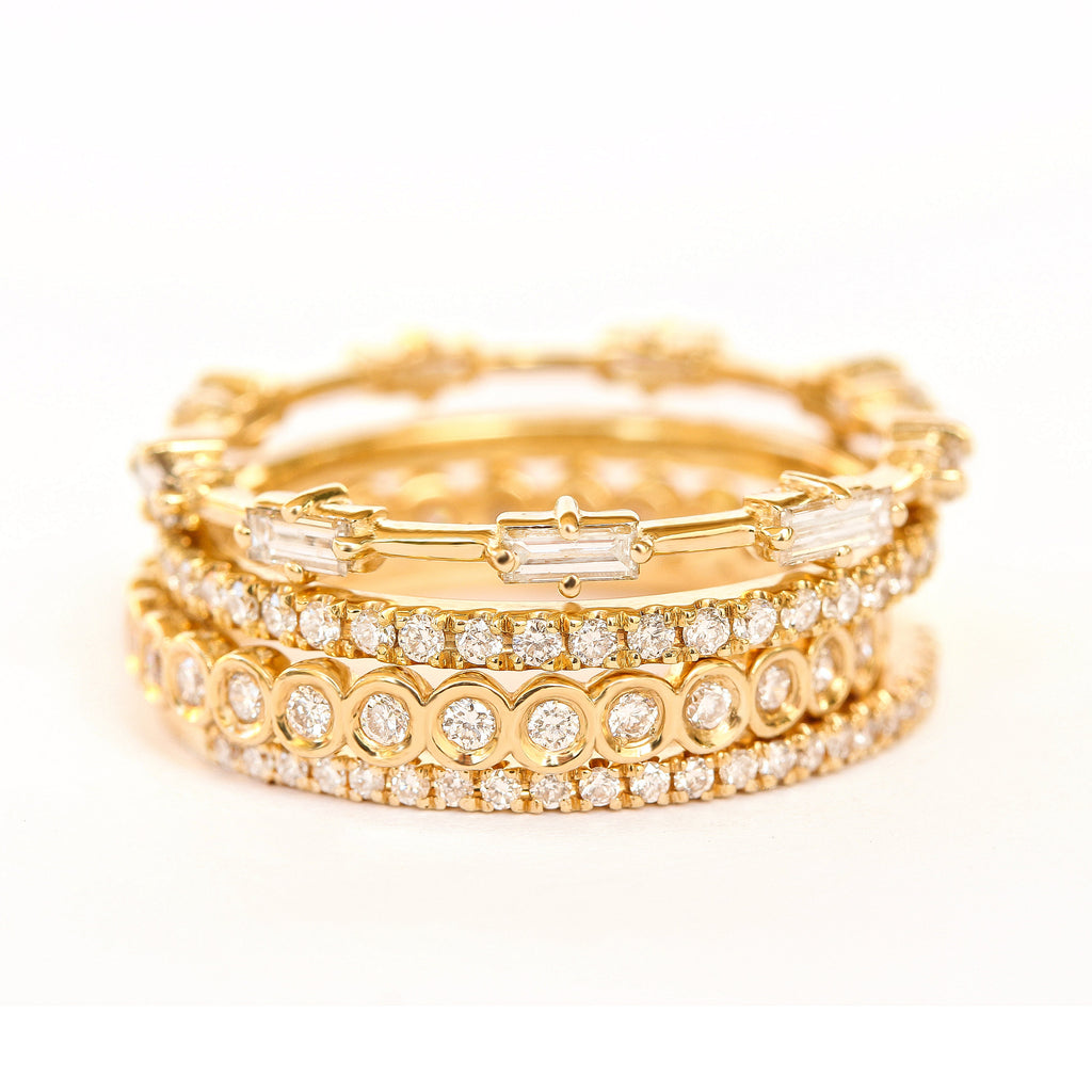 Baguette Diamonds Eternity Unique Wedding Ring / Stacking Rings