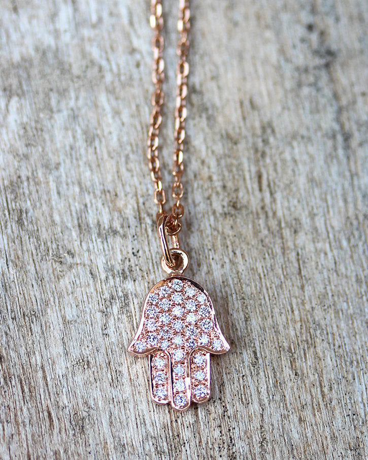Diamond Hamsa Pendant Necklace, Evil Eye Fine Jewelry