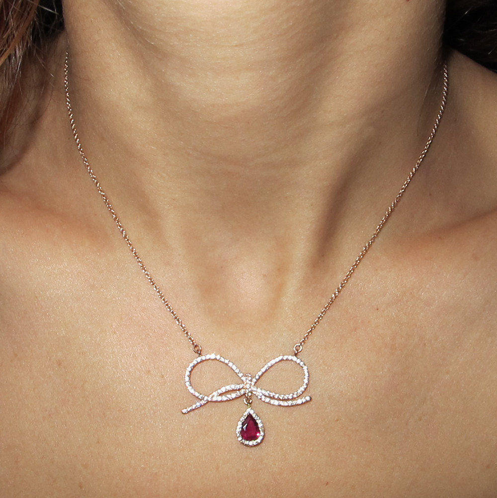 Bow Tie Diamond Pendant Necklace