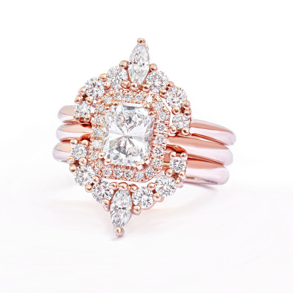 affordable radiant diamond unique engagement ring set