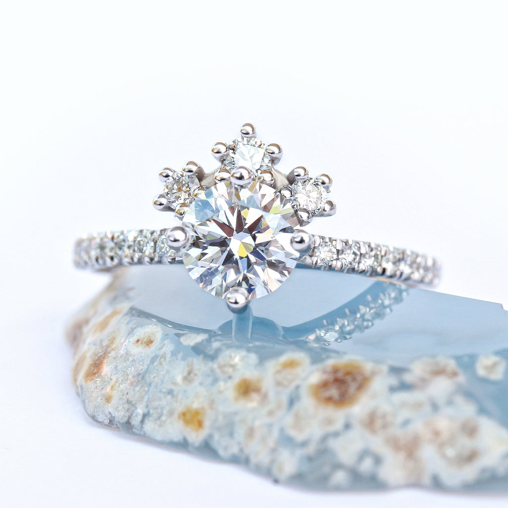 Destiny Tiara Unique Diamond Cluster Engagement Ring, GIA certificate Diamonds - sillyshinydiamonds