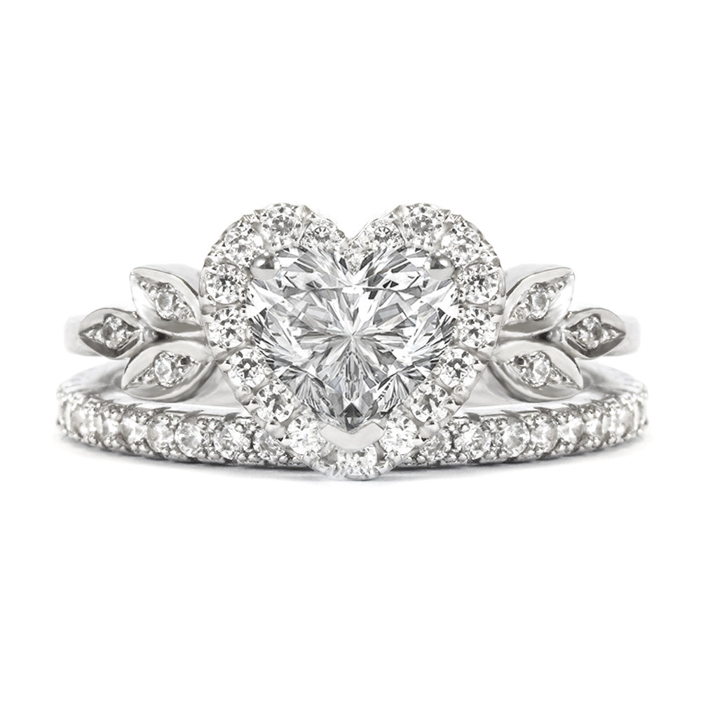Blossom Heart Diamond Halo Unique  Engagement Ring