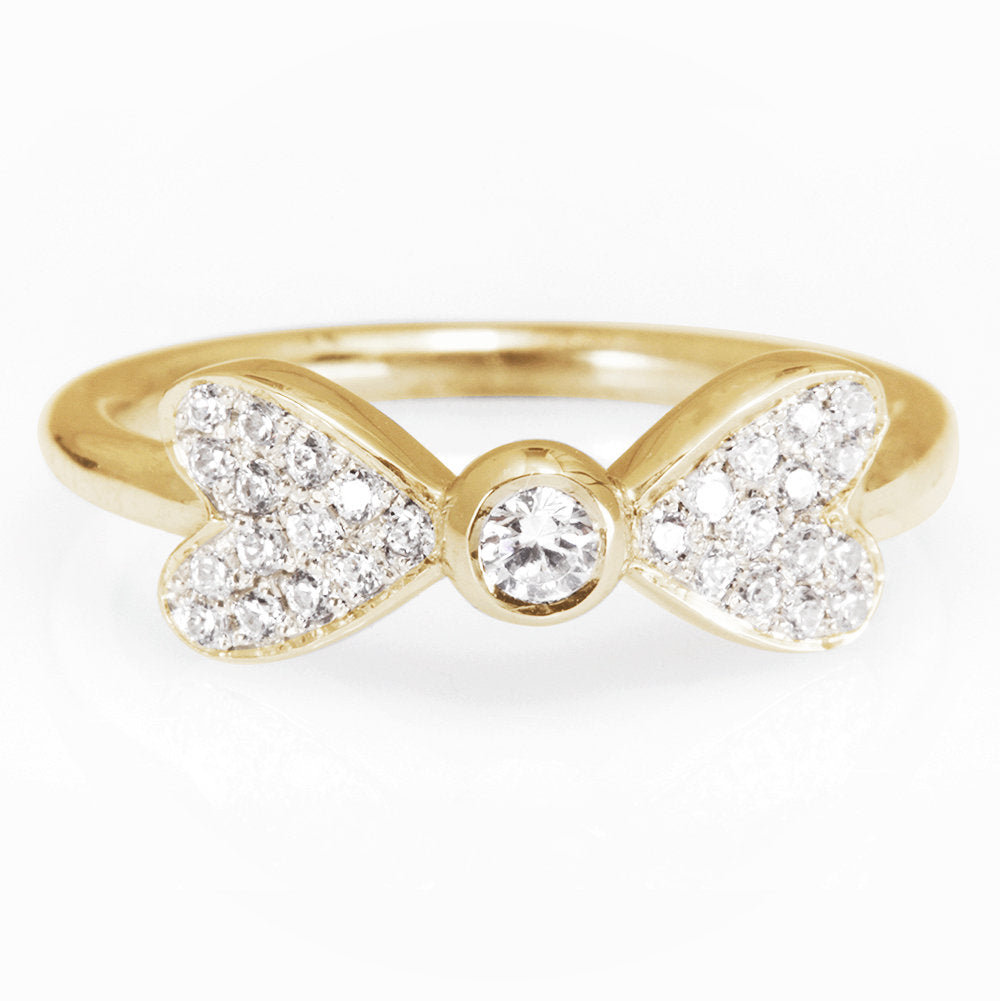 Hearts Diamond Ring, Unique Dainty  Diamond Ring