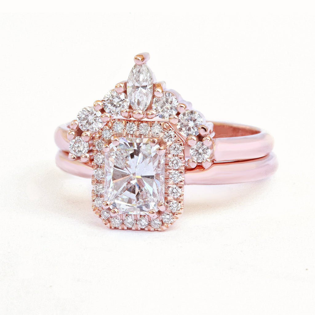 Radiant Karma Diamond Engagement & Wedding, Bridal Rings Set - sillyshinydiamonds
