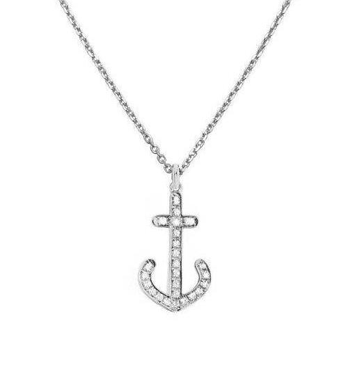 Diamond Anchor 14K White Gold Pendant Necklace,