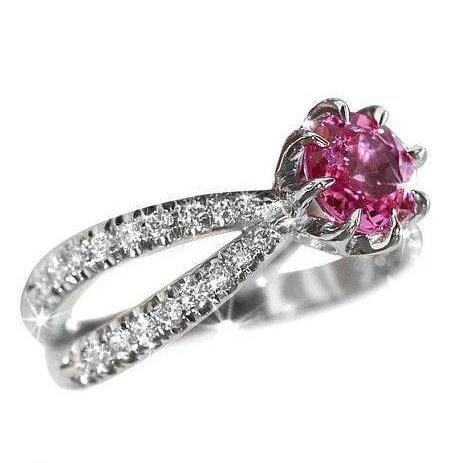 Pink Tourmaline Unique Engagement Ring, 14K White Gold Ring, Size 7.5