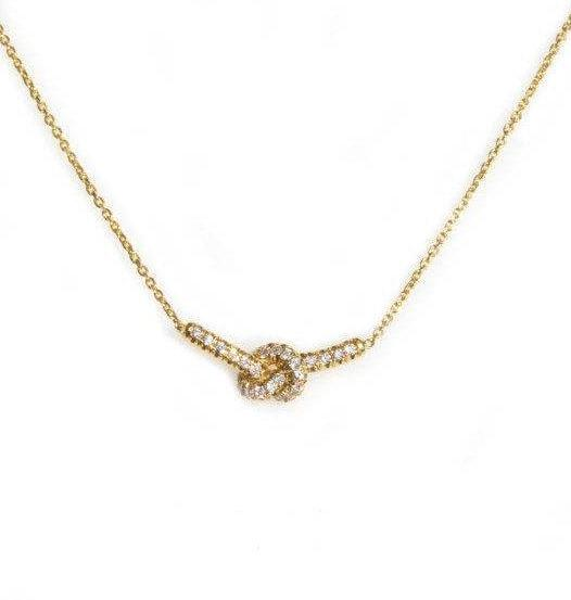 Love Knot Diamond Necklace, 14K Yellow Gold, 36cm - sillyshinydiamonds