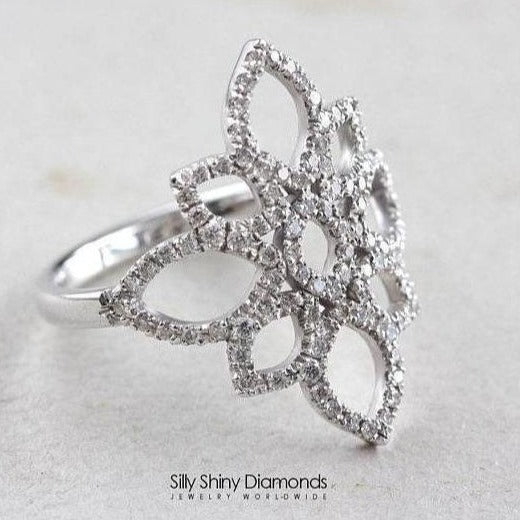 Lotus Diamond Ring, Unique Engagement Ring, 14K White Gold Ring, Vintage Ring Size 6