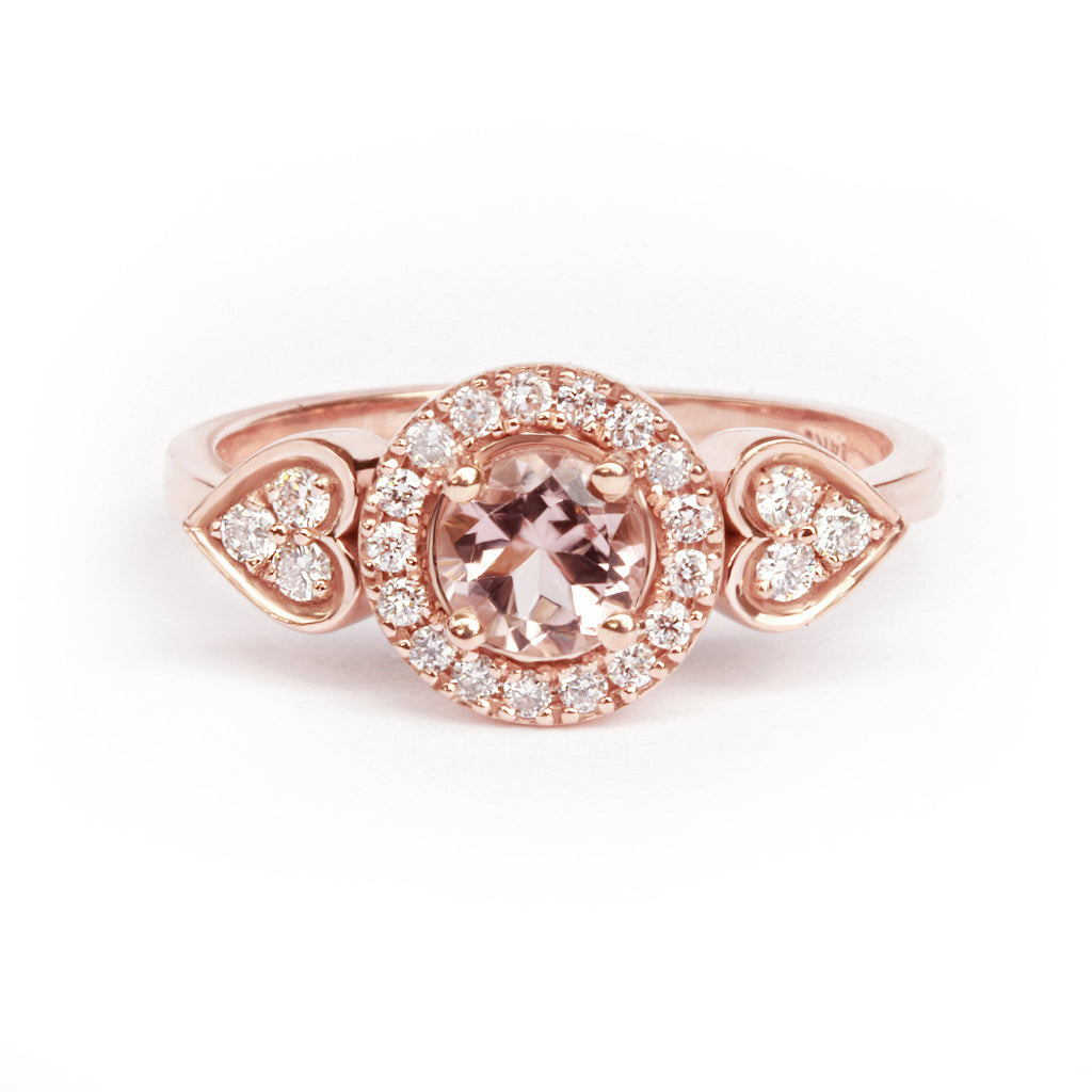 Sugar Morganite & Diamonds Halo Unique Engagement Ring, 14K Rose Gold, Size 6.5