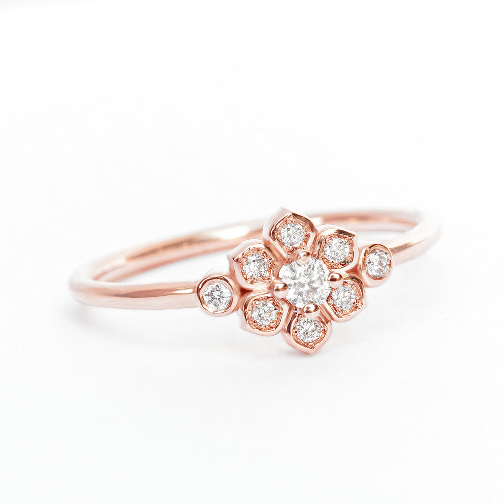 Mini Lily Flower 0.1ct Dainty Diamond Promise Ring - sillyshinydiamonds