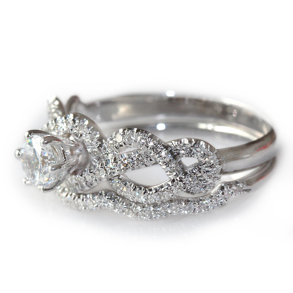 Infinity Knot Diamond Engagement Two Rings Set