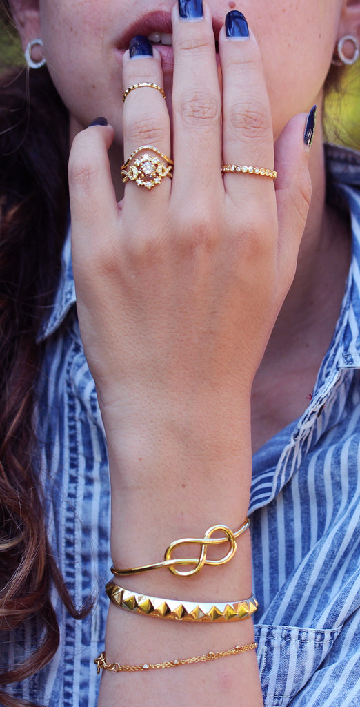 Pyramid Gold Cuff Bangle, 14K Yellow Gold, Ready to ship