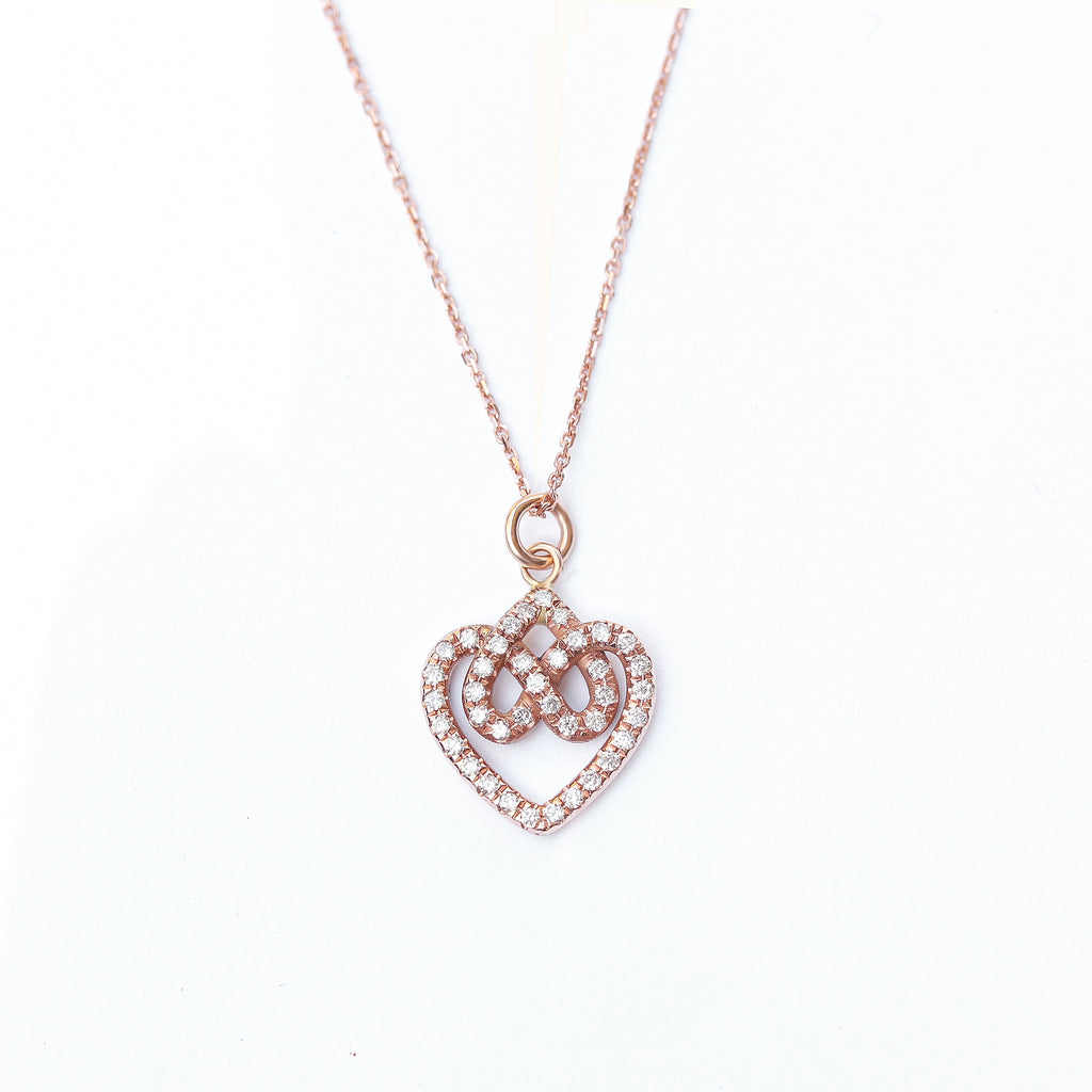 Infinity hearts lock knot diamond pendant necklace, 14K rose gold, 42 cm, ready to ship