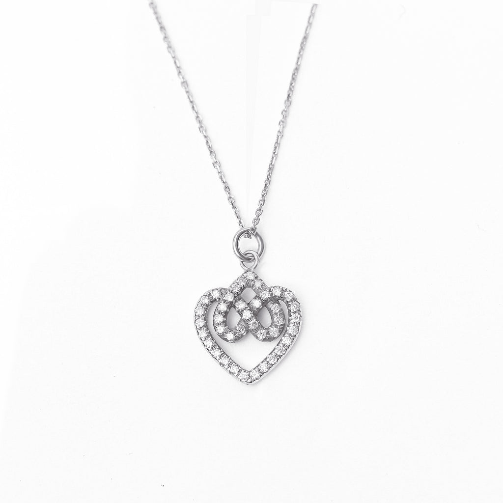Infinity hearts lock knot dainty diamond pendant necklace