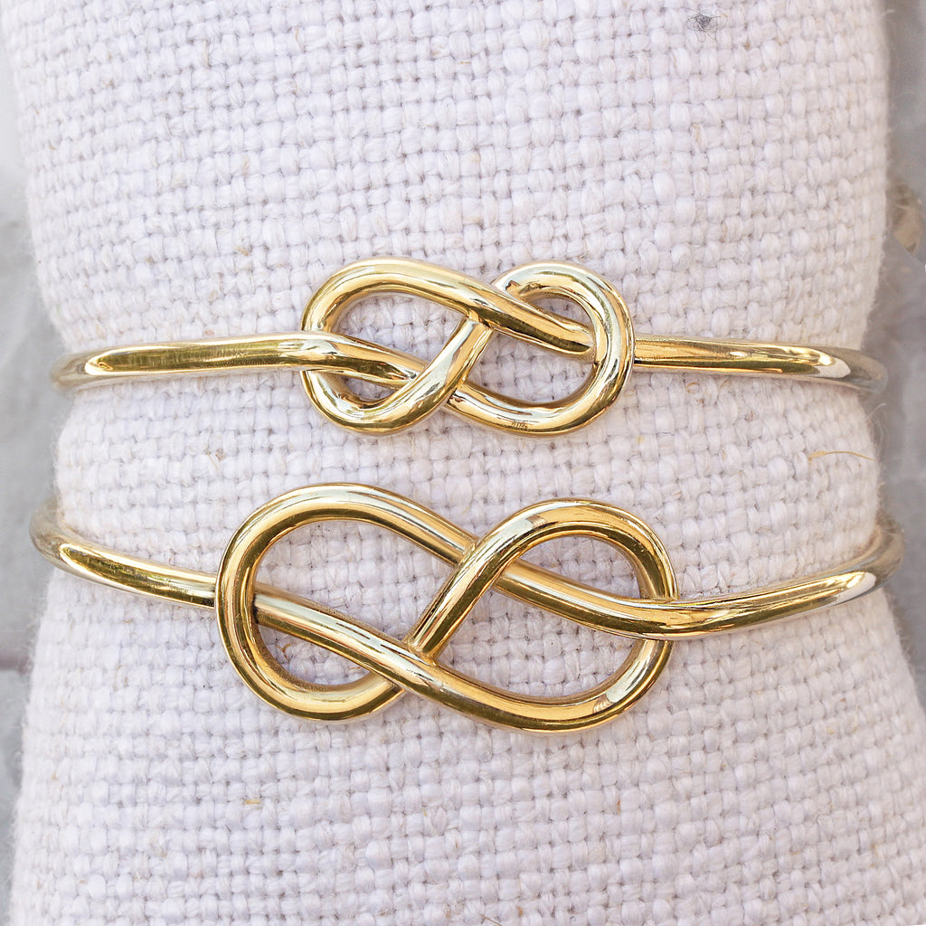 Small Infinity Knot Gold Cuff Bangle - sillyshinydiamonds