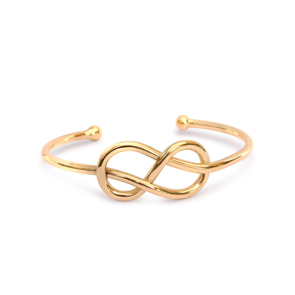 Infinity Knot Gold Cuff Bangle, 14K yellow gold, ready to ship - sillyshinydiamonds