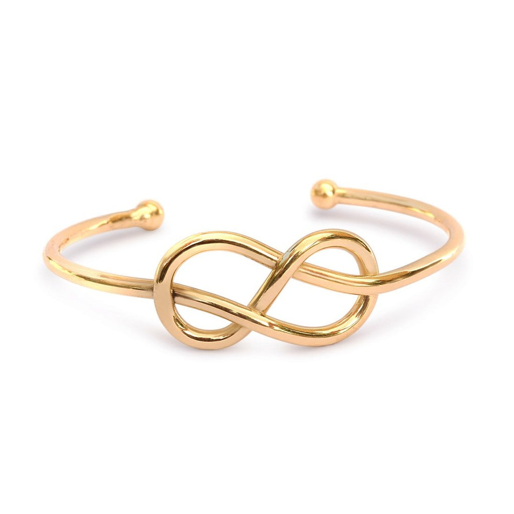 Infinity Knot Gold Cuff Bangle - sillyshinydiamonds
