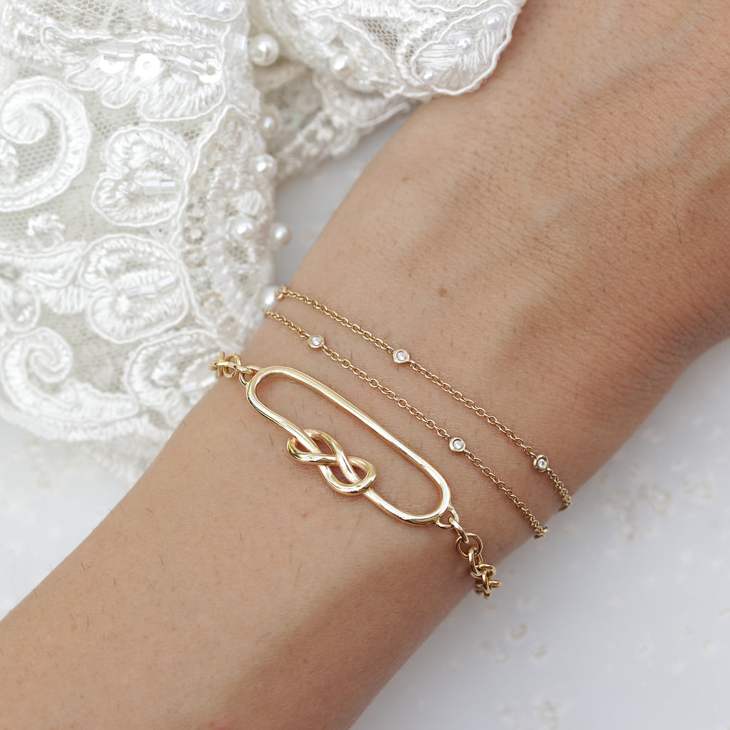 Double chain & diamonds dainty Bracelet - 18K yellow gold, Ready to ship - sillyshinydiamonds