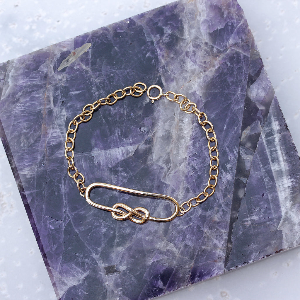 Squircle Infinity Knot gold bracelet - 14K yellow gold, Ready to ship - sillyshinydiamonds