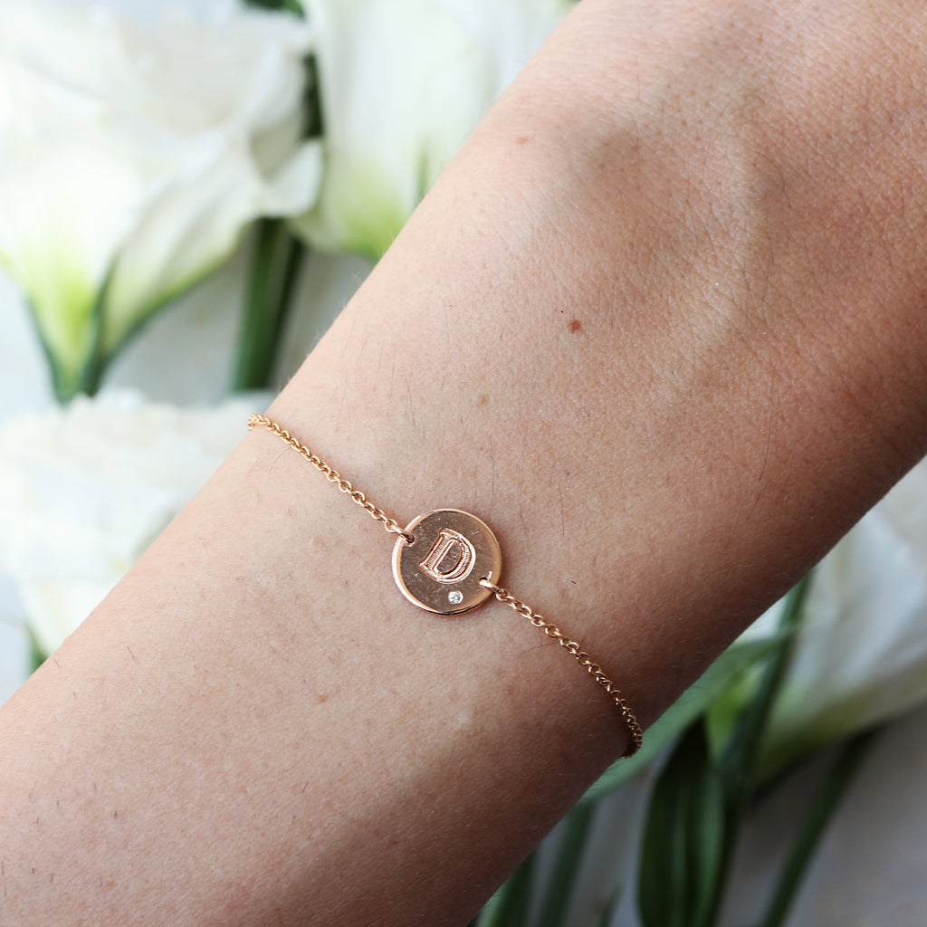Personalized initial letter one diamond solid gold bracelet - sillyshinydiamonds
