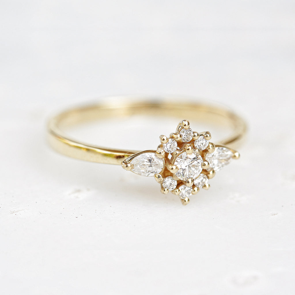Iris flower dainty engagement ring - sillyshinydiamonds