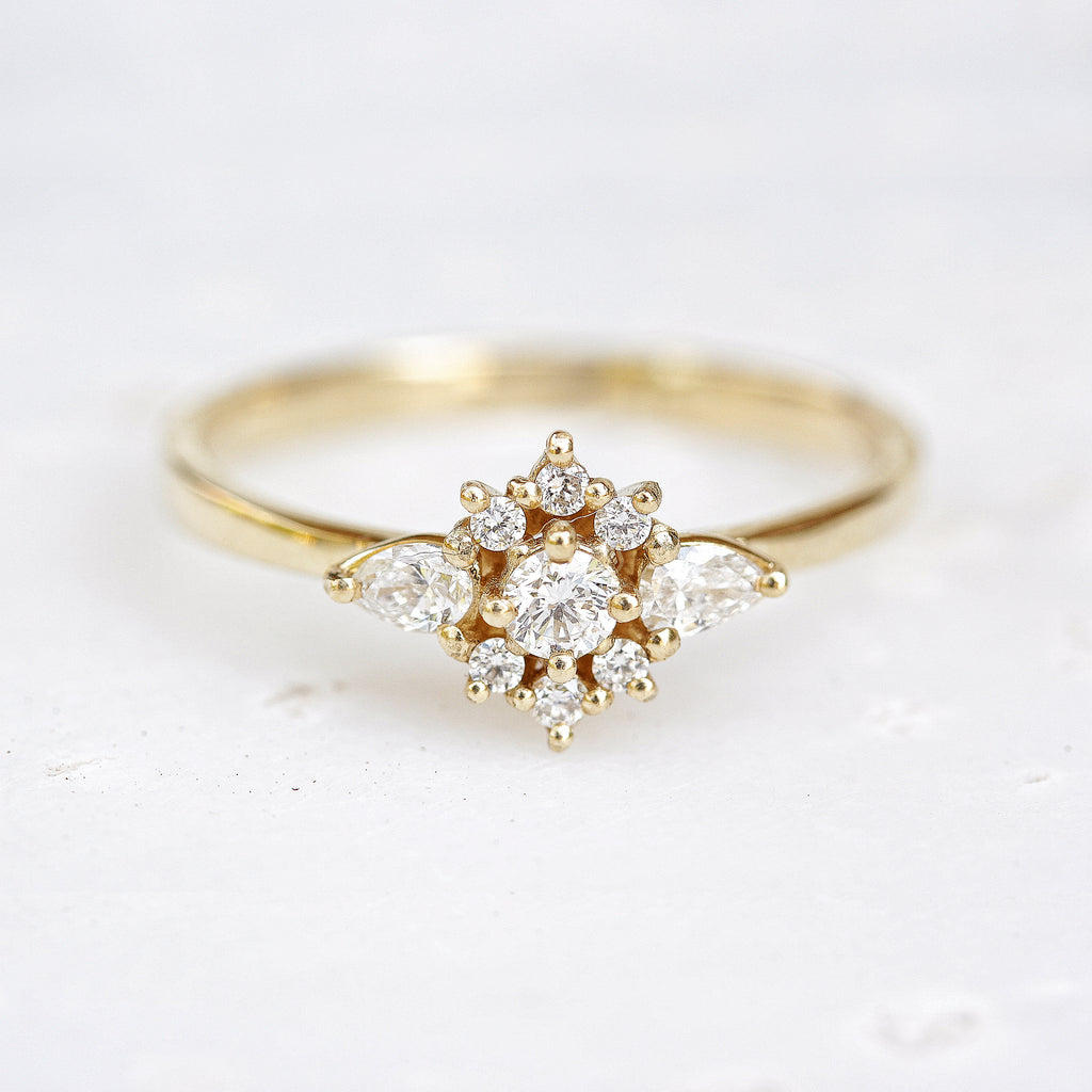 Iris flower dainty engagement ring
