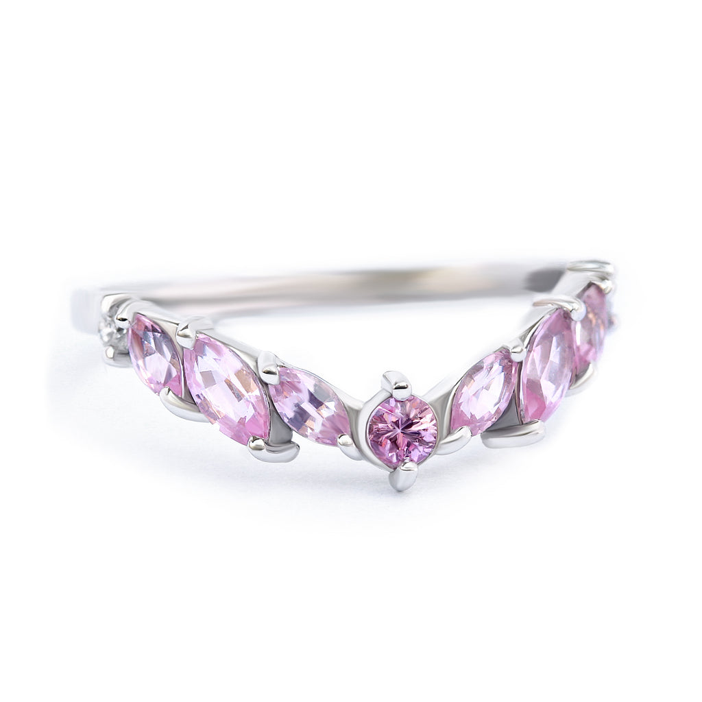 Marquise pink Spinel & Sapphire Crown nesting v ring, Pinkie - Ready to ship in 14K white gold & size 6.5